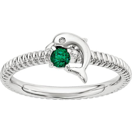 Created Emerald and Diamond Sterling Silver Dolphin Ring