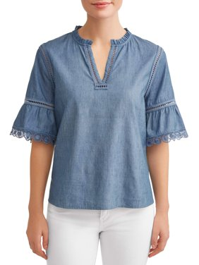 Women's Chambray Ruffle Sleeve Top