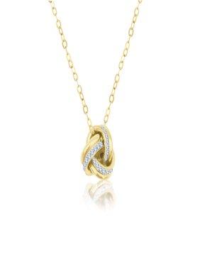 10 Karat Yellow Gold Crystal LoveKnot Pendant Made with Zirconia by Swarovski
