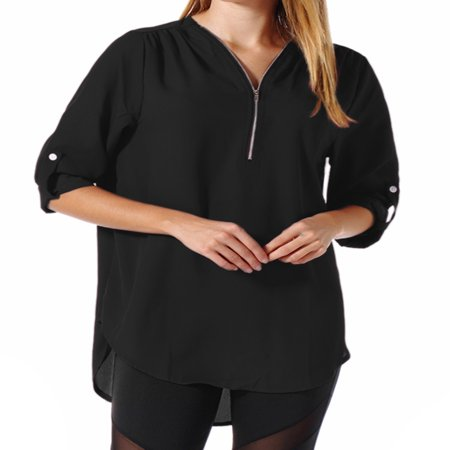 Women's Casual V Neck Cuffed Sleeves Solid Blouse Top Loose Fit Plus Size -