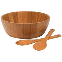 Lipper International Bamboo Salad Bowl with Servers, 3-Piece Set