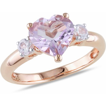2 Carat T.G.W. Rose de France and Created White Sapphire Rose Rhodium-Plated Sterling Silver Heart Engagement