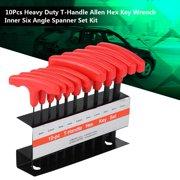Zerone 10Pcs Heavy Duty T-Handle Allen Hex Key Wrench Inner Six Angle Spanner Set