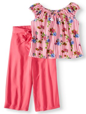 Tassel Front Ruffle Top and Gaucho Pant, 2-Piece Outfit Set (Little Girls, Big Girls & Big Girls Plus)
