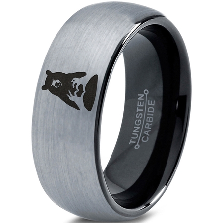 Tungsten Bear Outdoor Wilderness Heart Emoji Hand Band Ring 8mm Men Women Comfort Fit Black Dome Brushed Gray Polished](Ring Bear Suits)
