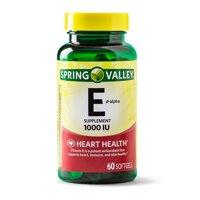 Spring Valley Vitamin E D-Alpha Softgels, 1000 IU, 60 Ct