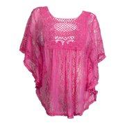 ba142cb9fade38 eVogues Plus Size Sheer Crochet Lace Poncho Top Fuschia