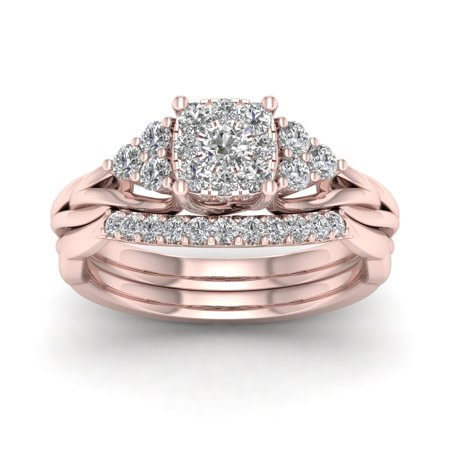 5/8Ct TDW Diamond 10K Rose Gold Cluster Bridal Ring Set
