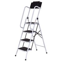 Costway 2 In 1 Non-slip 4 Step Ladder Folding Stool w/ Handrails and Tool Pouch Caddy