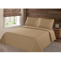 PERSIAN EYGYPTION COLLECTION TWIN NENA GOLD SOLID CLOSOUT QUILT BEDDING BEDSPREAD COVERLET PILLOW CASES SET