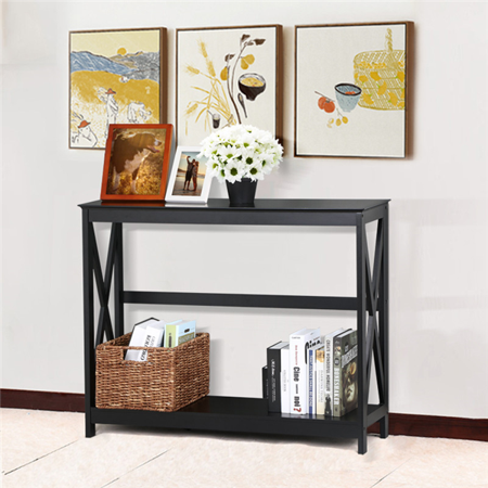 Yaheetech 2 Tier X Design Hallway Large Console Table Entryway Accent Tables with Storage Shelf Living Room Entrance Furniture ( Black (Tiered Foyer)