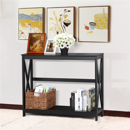 Yaheetech 2 Tier X Design Hallway Large Console Table Entryway Accent Tables with Storage Shelf Living Room Entrance Furniture ( Black - Large Console Table Stand