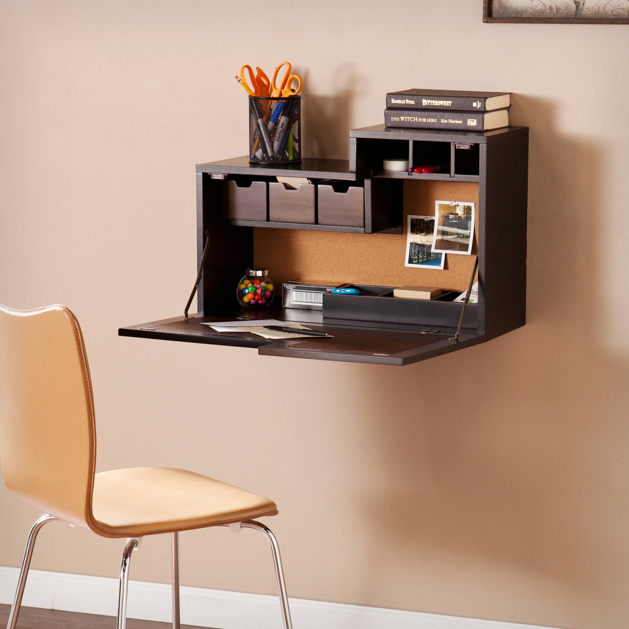 Southern Enterprises Denver Fold Down Wall Mount Desk, Espresso