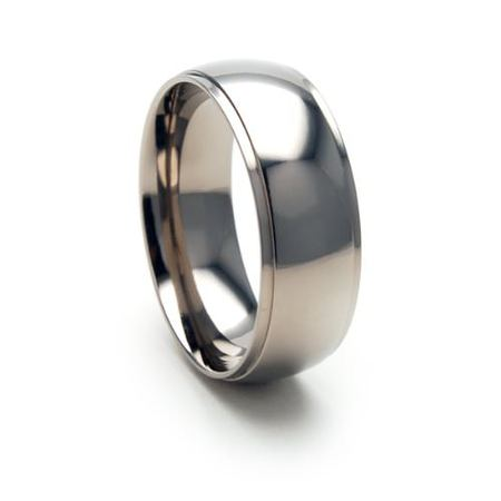 8mm Half Round polished Titanium Ring with step edges