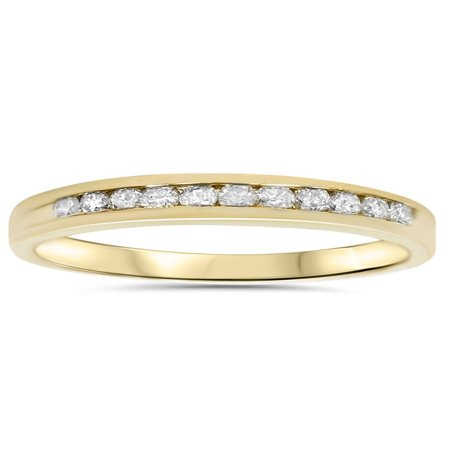 1/4ct LADIES RING NATURAL DIAMOND CHANNEL SET WEDDING BAND PURE 14K YELLOW - Bar Channel Diamond Band