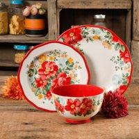 The Pioneer Woman Vintage Floral Red 12-Piece Dinnerware Set