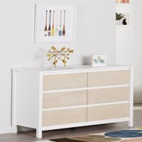 Novogratz Addison 6 Drawer Dresser, Natural and White