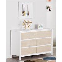 Novogratz Addison 6 Drawer Dresser, Natural and White