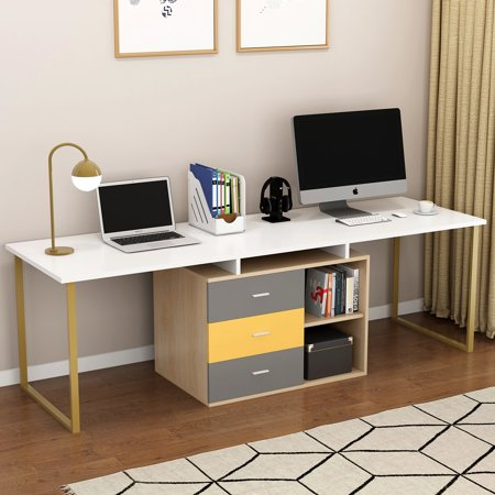 Tribesigns 87 Inches Extra Long Computer Desk For Two Person Adjule Double Workstation Office With File Cabinet Large Reversible L Shaped