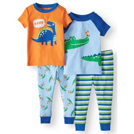 Wonder Nation Baby boys' cotton tight fit pajamas, 4-piece set (Sock Monkey Baby Boy Clothes)