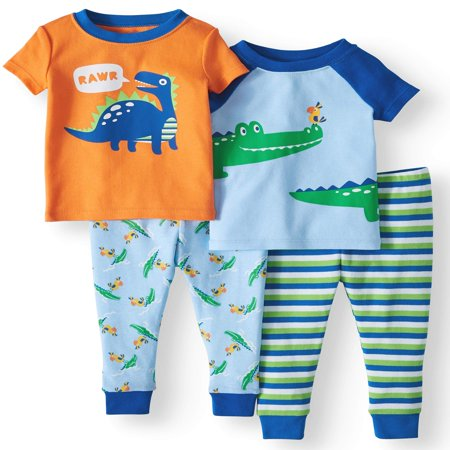 Wonder Nation Baby boys' cotton tight fit pajamas, 4-piece set](Christmas Pajamas Baby)