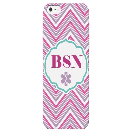 BSN Bachelor of Science in Nursing Print Striped Pink Gray White Phone Case for the Apple Iphone 5 / 5s - Medical Patt - Halloween In 5s Online Office
