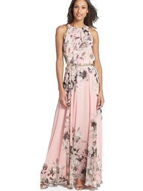 Women Boho Floral Print Long Chiffon Dress Sleeveless Skirts Summer Beach Sun Dress Gown Casual Plus Size