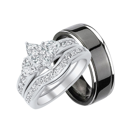 His Hers CZ Wedding Ring Set Sterling Matching Silver Black Titanium Bands for Him