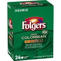 Folgers Lively Colombian Decaf, Medium-Dark Roast Coffee, K-Cup Pods, 24-Count