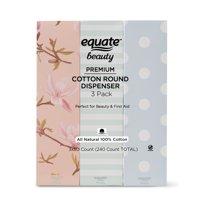 Equate Beauty Premium Cotton Dispenser, 3 Pack, 240 Count