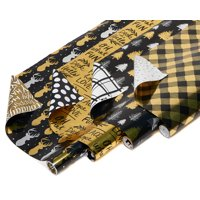 American Greetings Christmas Reversible Foil Wrapping Paper, Black and Gold, 4ct, 20 Sq. Ft. Per Roll