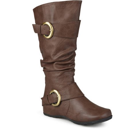Calf High Platform - Women's Extra Wide Calf Knee High Slouch Buckle Boots
