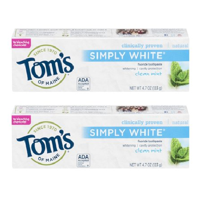 (2 Pack) Tom's of Maine Simply White Toothpaste Clean Mint - 4.7 oz