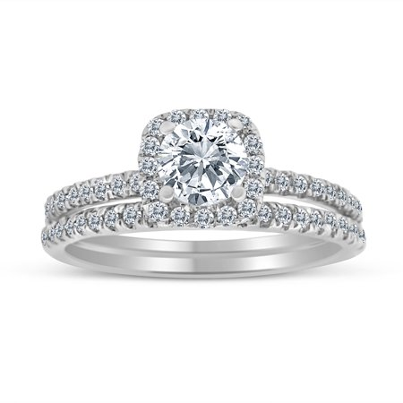 1.00ctw Diamond Halo Bridal Set Engagement Ring in 10k  White Gold