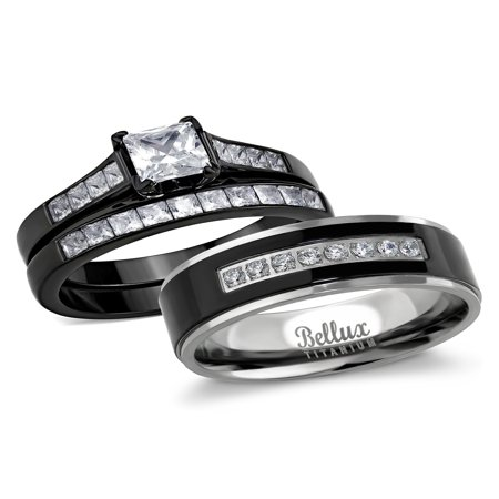 His and Hers Wedding Ring Sets Couples Black Stainless Steel Cubic Zirconia Bridal Sets Wedding Rings Black Cubic Zirconia Set