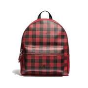 9bd9cb0d8c4a NEW WOMENS COACH (F38949) GINGHAM RUBY RED LEATHER MEDIUM CHARLIE BACKPACK