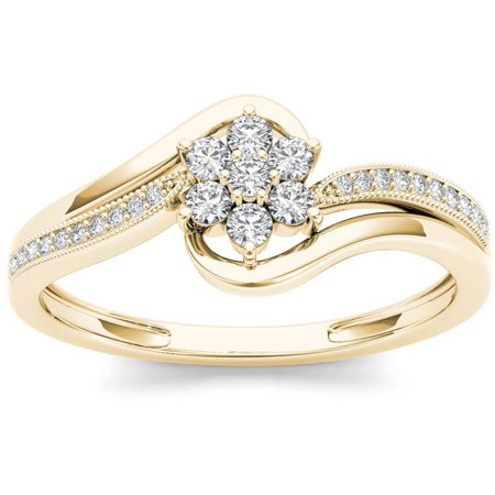 1/4 Carat T.W. Diamond Bypass Flower 10kt Yellow Gold Fashion Ring