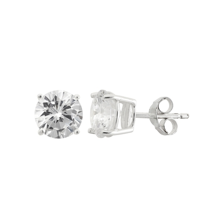 White CZ Sterling Silver Round Stud Earrings, (Crislu Round Earring)