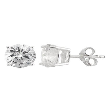 White CZ Sterling Silver Round Stud Earrings, 8mm ()