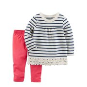 Carters Infant Girls Baby Outfit Navy Blue Stripe Shirt & Pink Leggings
