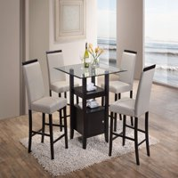 """Lenn 5 Piece Counter Height Dining Set, 35"""" Square, Transitional, (Cappuccino Table With Beveled Glass Top & 4 Gray Chairs)"""