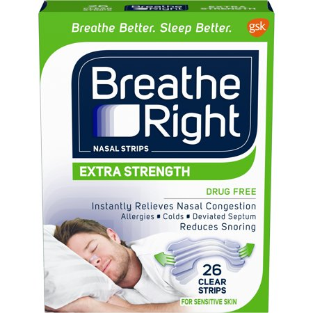 Breathe Right Nasal Strips to Stop Snoring, Drug-Free, Extra Clear, 26