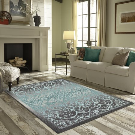 Mainstays India Medallion Textured Print Area Rug and Runner Collection - Grape Round Rug