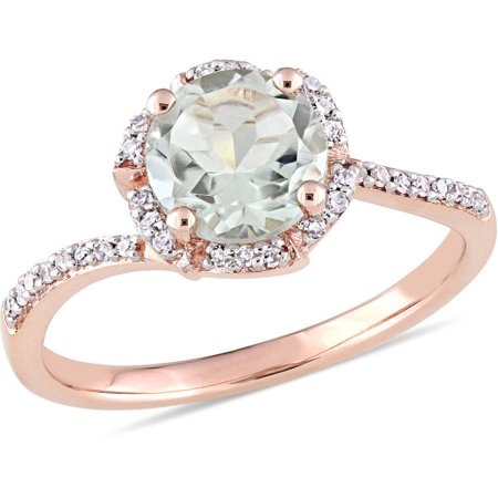 1-1/3 Carat T.G.W. Green Amethyst and 1/10 Carat T.W. Diamond 14kt Rose Gold Halo Ring