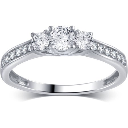 1/2 Carat T.W. Round Diamond 10kt White Gold 3-Stone Plus Engagement Ring, (Engagement Rings With Black Diamond Side Stones)