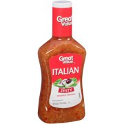 (4 Pack) Great Value Zesty Italian Dressing & Marinade, 16 Oz