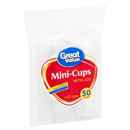 (3 pack) Great Value 2 oz Mini-Cups with Lids, 50 - Personalized Frosted Plastic Cups