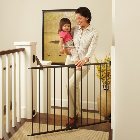 North State Swing Door Stairway Baby Gate, 28''-48''](Blue Baby Game)