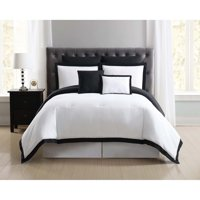 Truly Soft Everyday Hotel Border White and Black 7 Piece Full / Queen Comforter Set