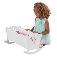 "KidKraft Wooden Lil' Doll Rocking Cradle with Pad for 18"" Baby Dolls"